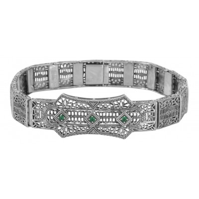 Art Deco Style Filigree Bracelet with 3 Natural Green Emeralds - Sterling Silver
