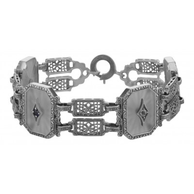 Art Deco Style Filigree Camphor Glass Starburst Crystal Bracelet Sterling Silver