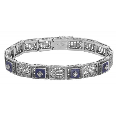 Art Deco Style Filigree Link Bracelet Blue Lapis  Diamonds - Sterling Silver