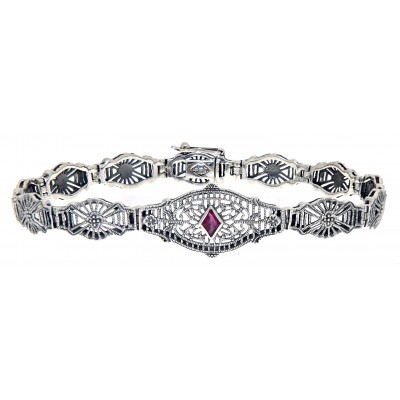 Art Deco Style Genuine Ruby Filigree Bracelet - Sterling Silver 7 1/4 inches