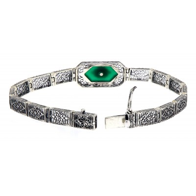 Victorian Style Filigree Bracelet w/ Green Onyx & Diamond 7 1/4 Sterling Silver