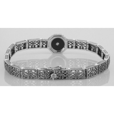 Art Deco Style Black Onyx and White Topaz Filigree Link Bracelet Sterling Silver