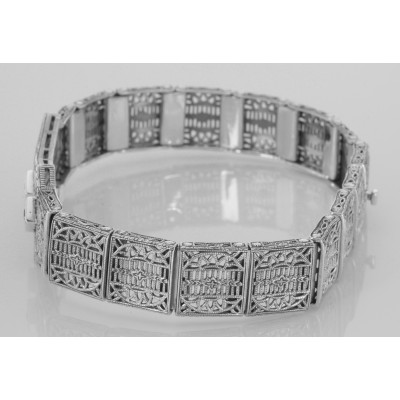 Art Deco Style Filigree Bracelet with 3 Natural Blue Sapphires - Sterling Silver