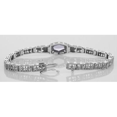 Art Deco Amethyst / Diamond Bracelet - 14kt White Gold