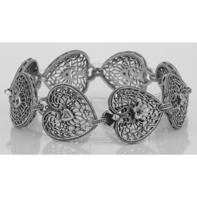 Victorian Style Filigree Heart Bracelet Diamond and Sapphire Sterling Silver