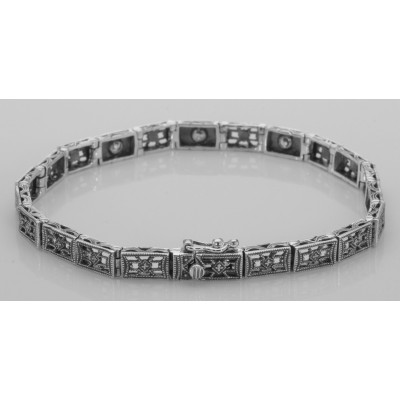 Victorian Style 3 Stone White Topaz Filigree Bracelet in Fine Sterling Silver