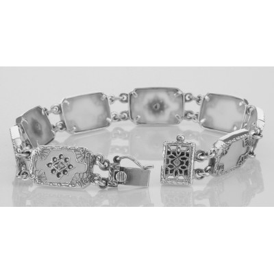 Victorian Style Camphor Glass Filigree Bracelet with Diamonds Sterling Silver