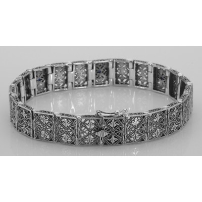 Victorian Style Blue Sapphire and Diamond Filigree Link Bracelet Sterling Silver