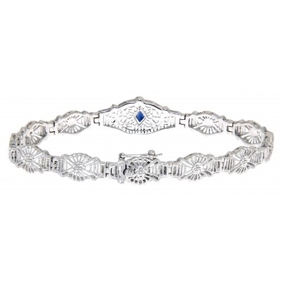 Art Deco Style Blue Sapphire Filigree Bracelet - 14kt White Gold 7 1/4 inches