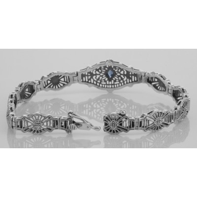 Art Deco Style Blue Sapphire Filigree Bracelet - Sterling Silver 7 1/4 inches