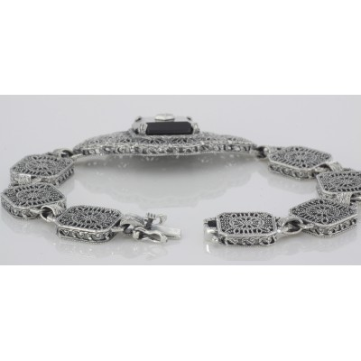 Black Spinel and Diamond Victorian Style Filigree Bracelet Sterling Silver