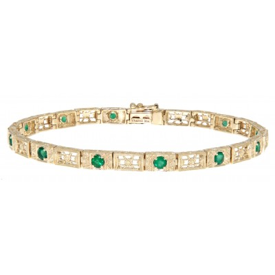 Victorian Style 3 Stone Green Emerald Filigree Bracelet in Fine 14kt Yellow Gold
