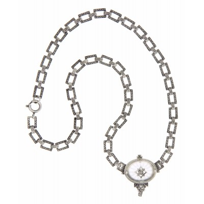 Custom Victorian Style Camphor Glass Diamond Chain - 18 inches - Sterling Silver