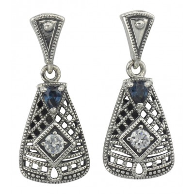 Art Deco Blue Sapphire and White Topaz Filigree Earrings - Sterling Silver