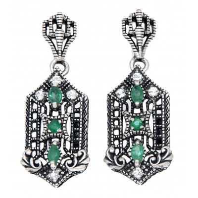 Art Deco Genuine Emerald and White Topaz Filigree Earrings - Sterling Silver