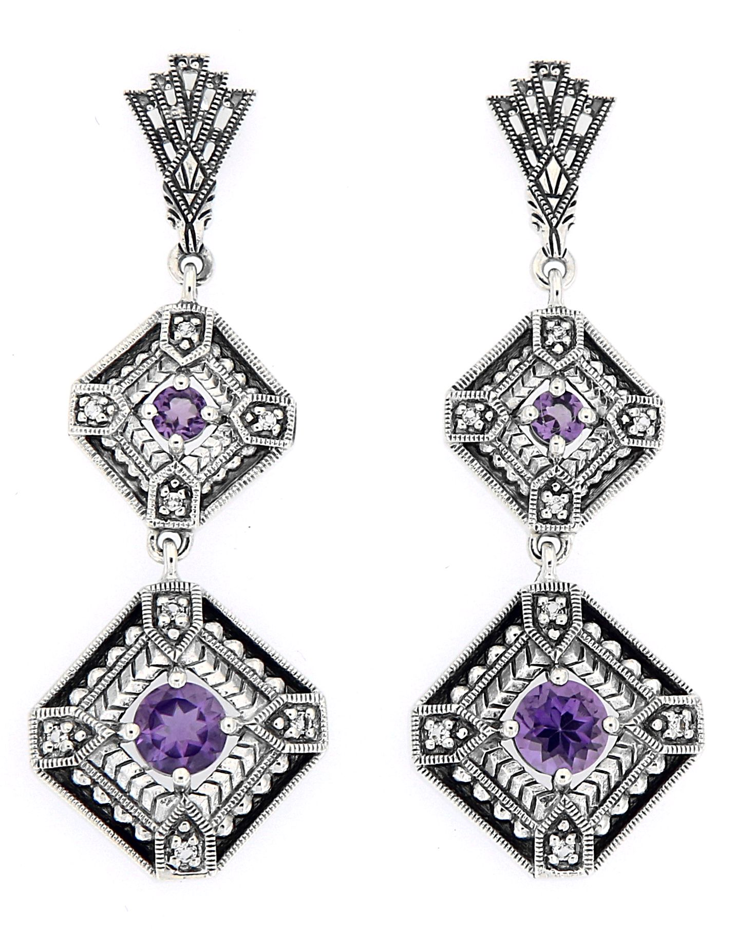 Antique Style Jewelry And Gifts Art Deco Style Amethyst Two Tiered Earrings Sterling Silver Fe 280 Am