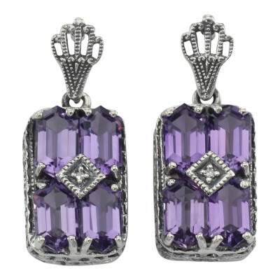 Antique Style Jewelry And Gifts Art Deco Style Amethyst W Diamond Earrings Sterling Silver Fe 376 Am