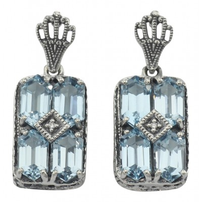 Art Deco Style Blue Topaz w/ Diamond Earrings - Sterling Silver