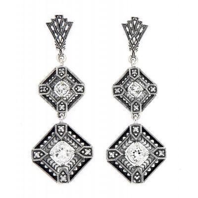 Art Deco Style White Topaz Two Tiered Earrings Sterling Silver