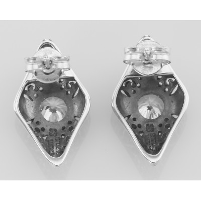 Classic Art Deco Style Filigree CZ Earrings - Sterling Silver