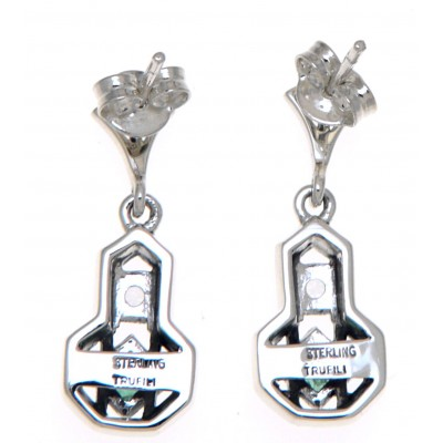 Art Deco Style Emerald and White Topaz Filigree Earrings - Sterling Silver