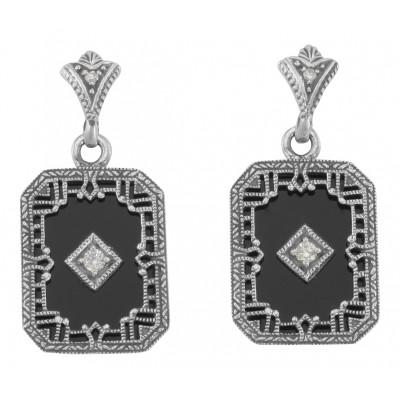 Art Deco Style Black Onyx and Diamond Filigree Earrings Sterling Silver