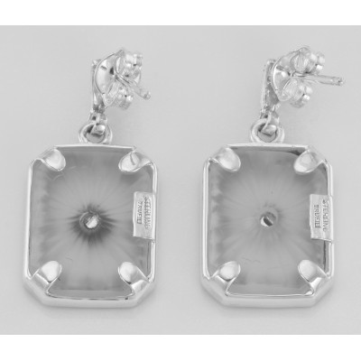 Art Deco Sunray Camphor Glass Genuine Diamond Filigree Earrings Sterling Silver