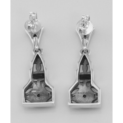 Art Deco Style Genuine Sapphire / White Topaz Filigree Earrings Sterling Silver