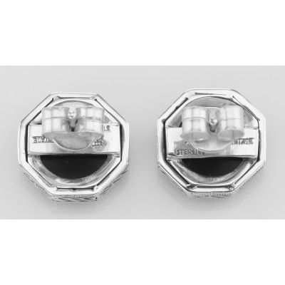 Classic Art Deco Filigree Black Onyx and CZ Earrings - Sterling Silver