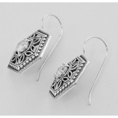 Filigree Earrings w/ CZ - Sterling Silver
