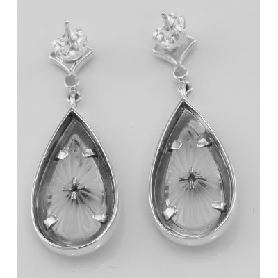 Sunray Crystal and Marcasite Filigree Earrings - Sterling Silver