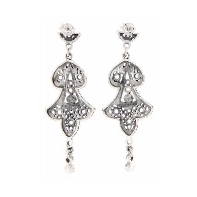 Filigree Fine White Topaz  Pearl Chandelier Drop Earrings - Sterling Silver