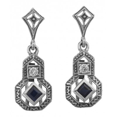 Sapphire and White Topaz Filigree Earrings - Sterling Silver