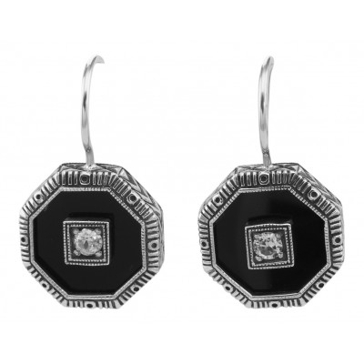 Unique Art Deco Black Onyx and White Topaz Filigree Earrings - Sterling Silver