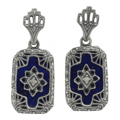 Victorian Style Blue Lapis and Diamond Filigree Earrings - Sterling Silver