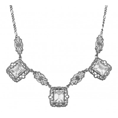 Art Deco Style 3 Gemstone White Topaz Filigree 17.5 In Necklace Sterling Silver