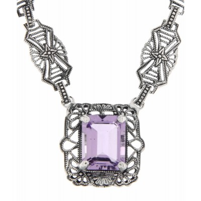 Art Deco Style Genuine Amethyst with 18 Inch Filigree Necklace Sterling Silver