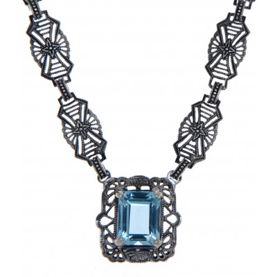 Art Deco Style Genuine Blue Topaz with 18 Inch Filigree Necklace Sterling Silver