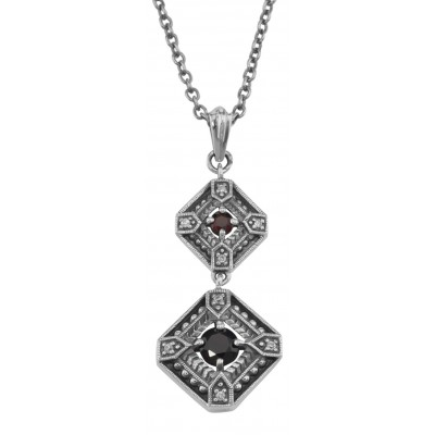 Art Deco Style Genuine Red Garnet and Filigree Necklace - Sterling Silver