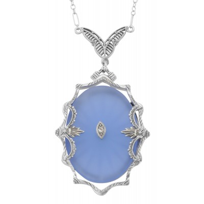 Blue Sapphire Colored Sunray Crystal  Diamond Necklace - Sterling Silver