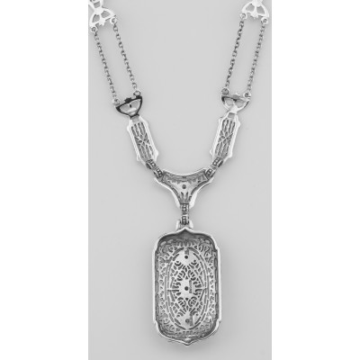 Victorian Style White Topaz Filigree Necklace with 18 Inch Chain Sterling Silver