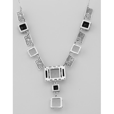 Art Deco Style Onyx and Quartz Crystal Necklace - Sterling Silver