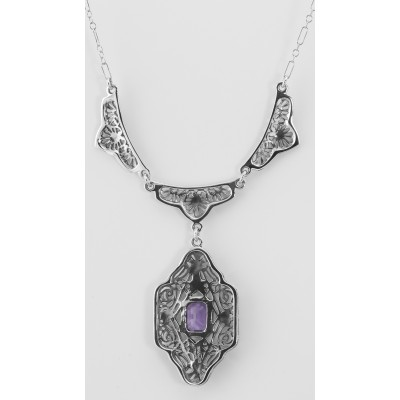 Victorian Style Floral Amethyst Filigree 19 Necklace - Sterling Silver