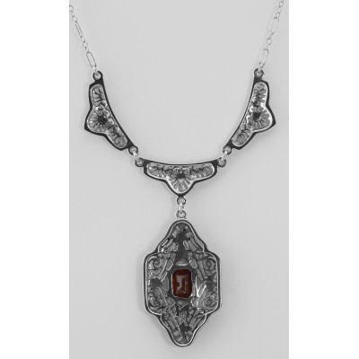 Classic Victorian Style Garnet Filigree Necklace w/ 19 Chain Sterling Silver