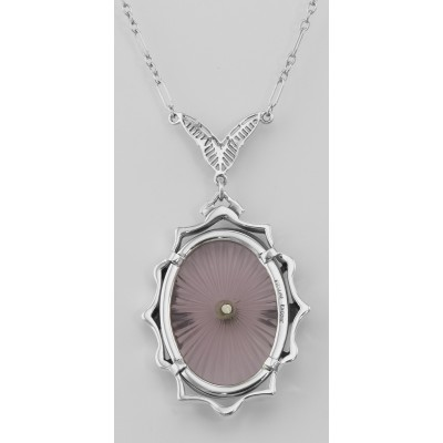 Amethyst Sunray Crystal  Diamond Necklace - Sterling Silver
