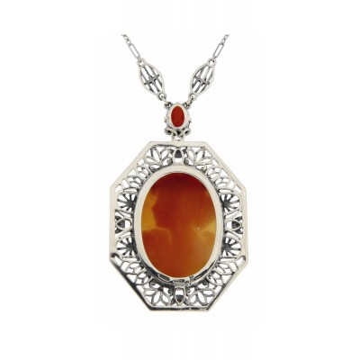 Hand Carved Italian Shell Cameo and Carnelian Filigree Necklace Sterling Silver