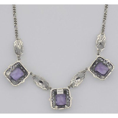 Art Deco Style 3 Gemstone Amethyst Filigree 17.5 Inch Necklace Sterling Silver