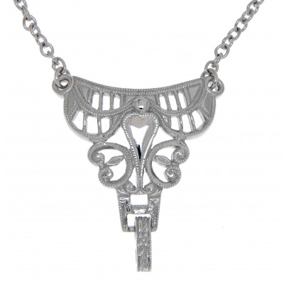 14kt White Gold Victorian Style Semi Mount Necklace
