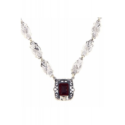 Art Deco Style Genuine Red Garnet with 18 Inch Filigree Necklace Sterling Silver