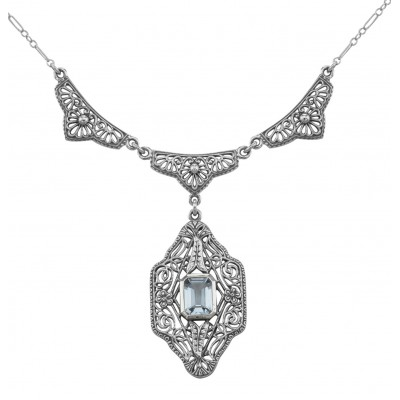 Unique Victorian Style Blue Topaz Filigree Necklace - Sterling Silver